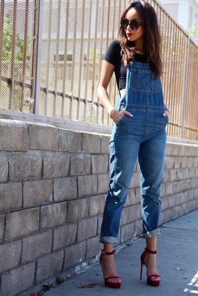 jumpsuit overalls denim overalls vintage jumpsuit streetstyle