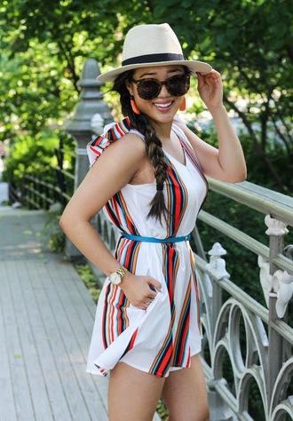 gracefullee made blogger romper shoes jewels hat sunglasses