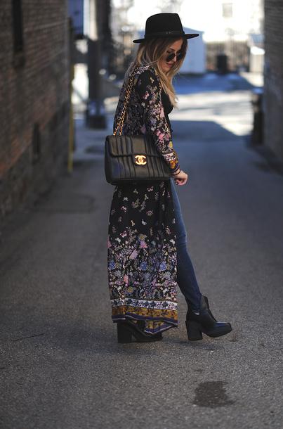 da7f161e coat tumblr printed long coat long coat printed coat kimono bag black bag  chanel chanel bag