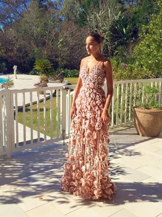 dress floral flowers rose roses gown olivia culpo prom dress romantic romantic dress wedding dress lace dress long prom dress long dress