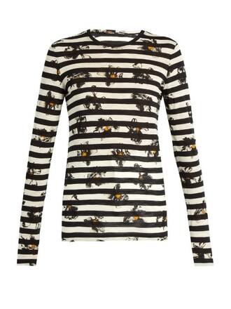 t-shirt shirt long floral print black top