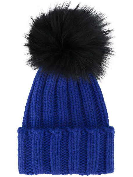 fur hat blue