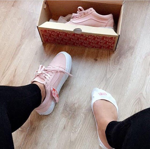 bbc2087e38 shoes pink vans baby pink vans cool shoes vans pink sneakers pink shoes  light pink low