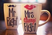 jewels,mr. right,mrs.,cup,sweet,cute,love,couple,lips,moustache,breakfast,coffee,tea,mr.,mrs always right,mug,valentines day,cupcakes printed,underwear,glasses,hair accessory,mustache mr. right and mrs always right mugs