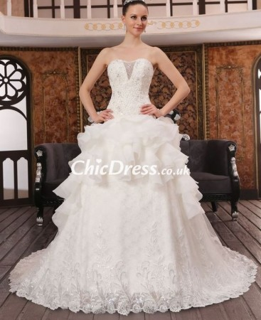 Lace and Organza Sweetheart Ball Gown Wedding Dress with Layered Skirt WCD-0015