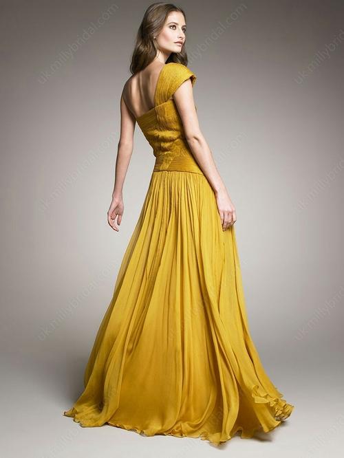 Sheath/Column One Shoulder Chiffon Floor-length Pleats Prom Dresses