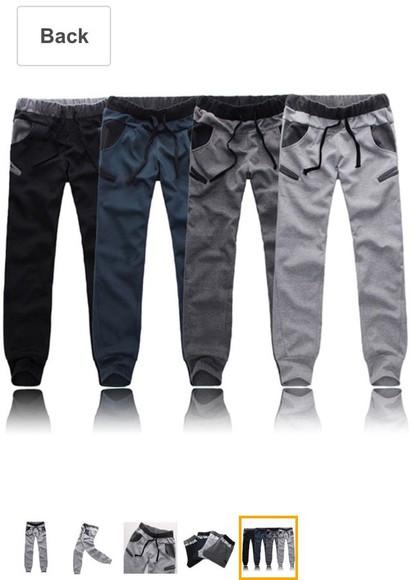 navy joggers grey black