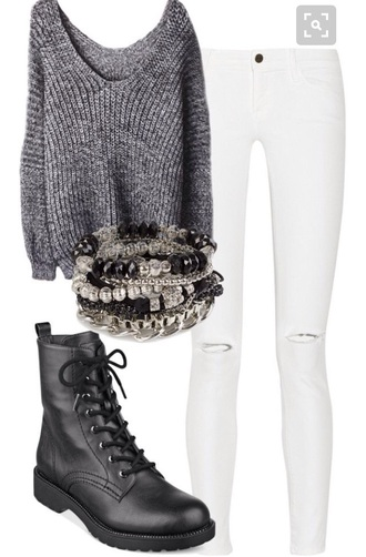 sweater boots grey sweater
