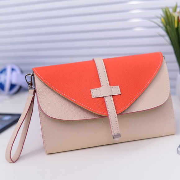 bicolor bag cute clutch two tone orange beige