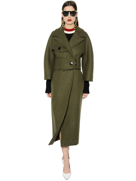 MARNI Double Breasted Felted Wool Coat in khaki