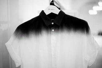 shirt black white top button up menswear dip dye ombre white shirt black shirt polo shirt polo unisex ombre shirt