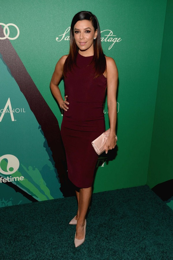 eva longoria dess red dress red purse shoes jewels bag