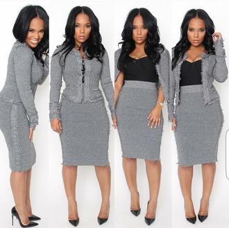 skirt grey fringes jackie o fray midi knee length suit