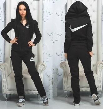 jumpsuit nike black sweater pants sportswear tracksuit hoodie streetwear swag sports pants zip