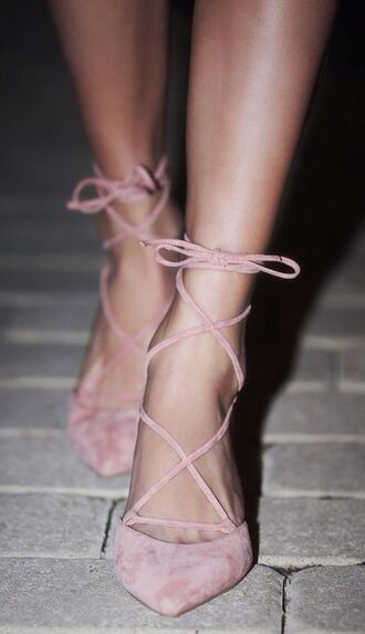 shoes pink shoes suede shoes style fashion girly shoes vintage shoes for her classy girly wishlist all pink wishlist pointed flats dusty pink flats strappy flats cute beautiful fall accessories rose baby pink heels high heels bow stripes knot suede pink lace up heels