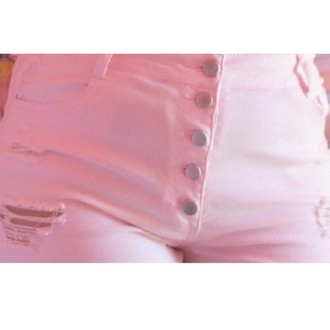 jeans pink kawaii buttons pastel high waisted jeans pastel pink