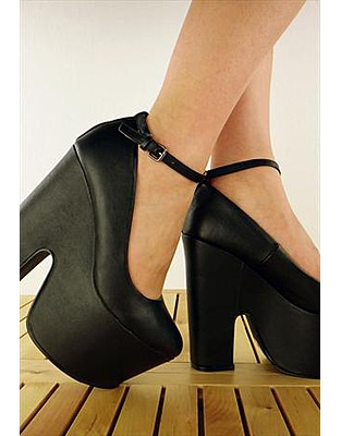 ASOS Fashion Finder | Gothic Chunky Wedges Platforms Statement High Heels - Black