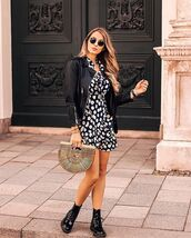 jacket,black jacket,dress,black and white,black and white dress,short dress,shoes,bag,sunglasses