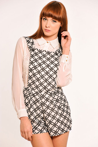 Felicia Geometric Print Playsuit - Pop Couture