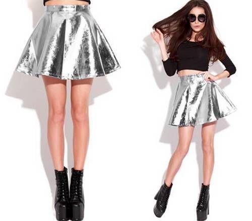 Stiff Silver Metallic Pleated Flare Skater Mini Skirt High Shine Sexy A Line | eBay