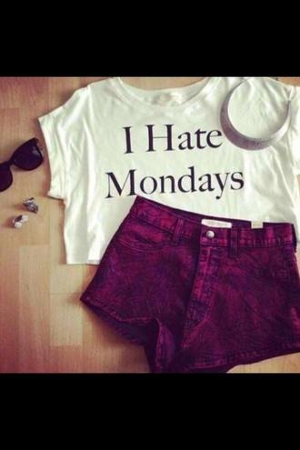 t-shirt i hate mondays black letters short white t-shirt