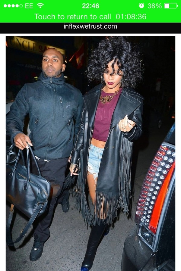 coat rihanna fringes black leather jacket leather shoes sweater