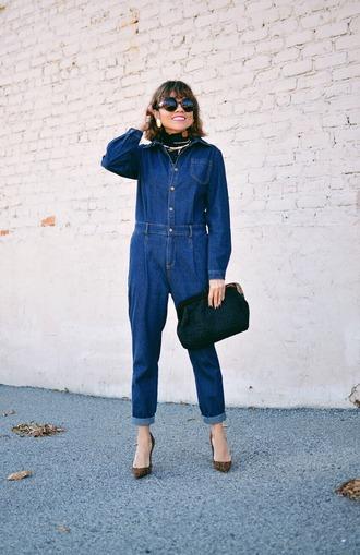 mysmallwardrobe blogger shoes bag scarf sunglasses jewels fall outfits pumps denim jumpsuit jumpsuit