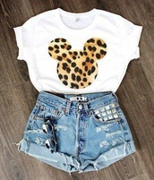 blouse,shirt,disney,mouse,leopard print,print,shorts,top,crop tops,leapord print,t-shirt,mickey mouse,ripped shorts,white t-shirt,cheetahmickey,jeans,embellished,torn shorts,batoko,www.batoko.com,white,short sleeve,denim shorts,studs,mickey and minnie tee,leopard print tee,mickey mouse shirt,sunglasses,white and cheetah