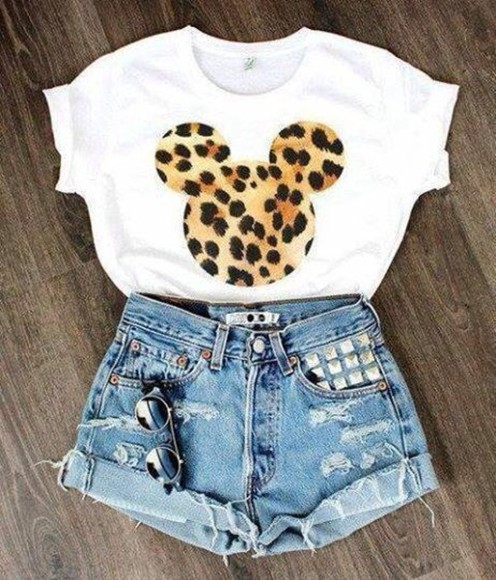 leopard print t-shirt mickey mouse leopard print print blouse shirt disney mouse shorts top crop tops leapord print