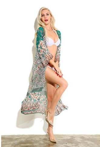 swimwear cover up robe duster teal and cream cardigan