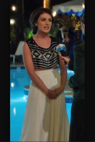shenae grimes crop tops black top skirt white skirt long skirt