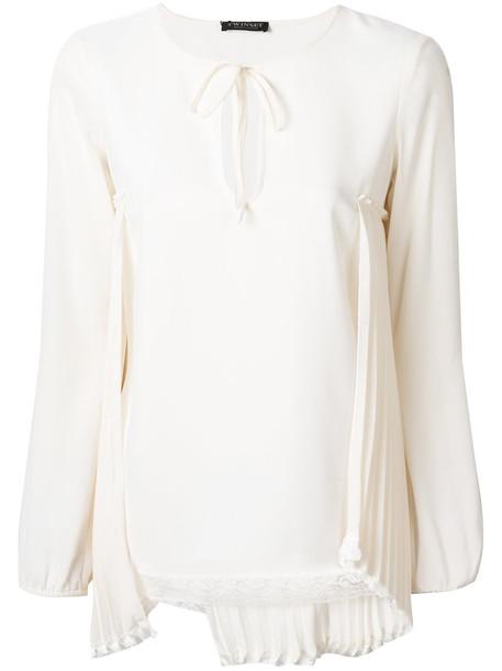 Twin-Set - lace detail blouse - women - Cotton/Polyamide/Polyester/Spandex/Elastane - 40, White, Cotton/Polyamide/Polyester/Spandex/Elastane