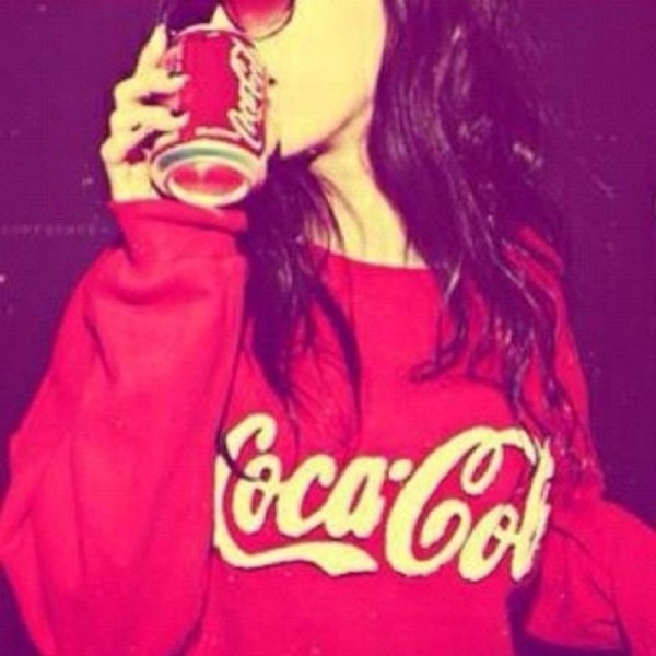 sweater coca cola oversized sweater red white