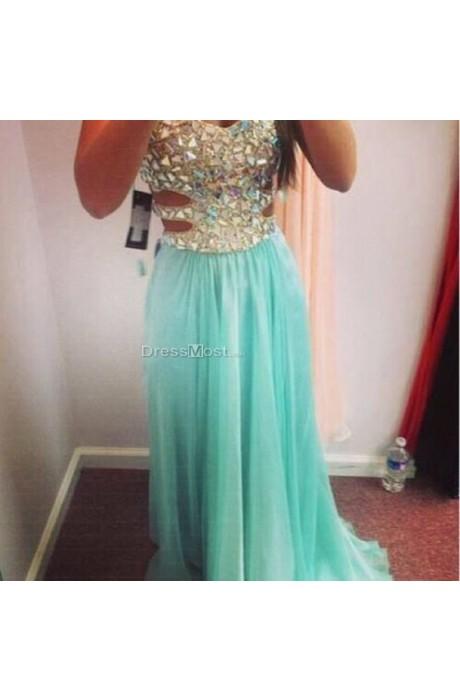 Perfect rhinestone blue backless chiffon evening dress