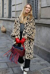 bag,animal print,coat,pernille teisbaek,streetstyle,paris fashion week 2018