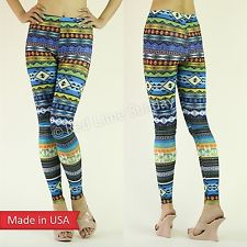 New Women Colorful Aztec Tribal Pattern Blue Print Leggings Tights Pants USA