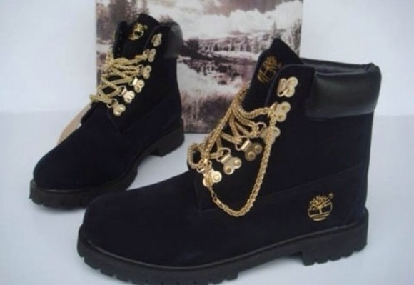 gold chain black chains shoes timberlands black boots boots