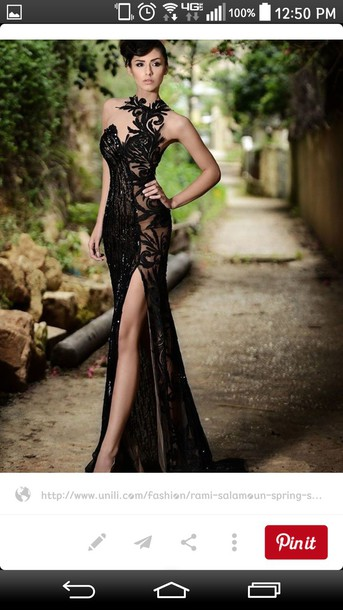dress elegant elegant dress slit dress prom dress black dress
