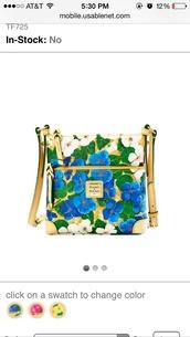 bag,floral,purse,crossbody bag,dooney & bourke,dooney and bourke purse,light blue,flowers,gold,designer,cute,lovely
