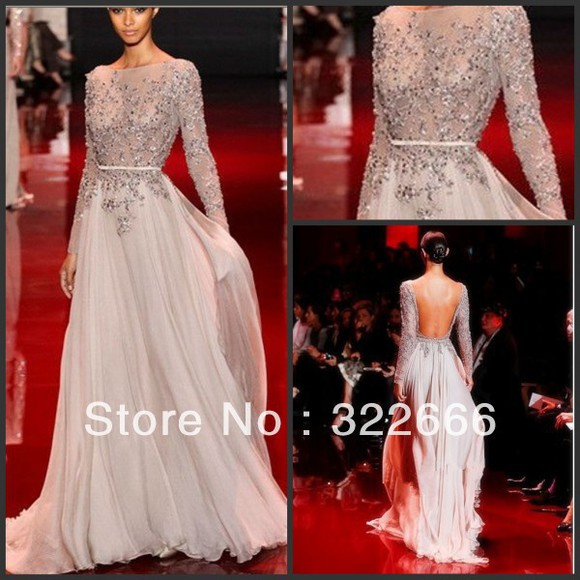 backless long sleeve dress formal dresses party dress gown prom dresses 2014 grey dress evening gown beaded dress