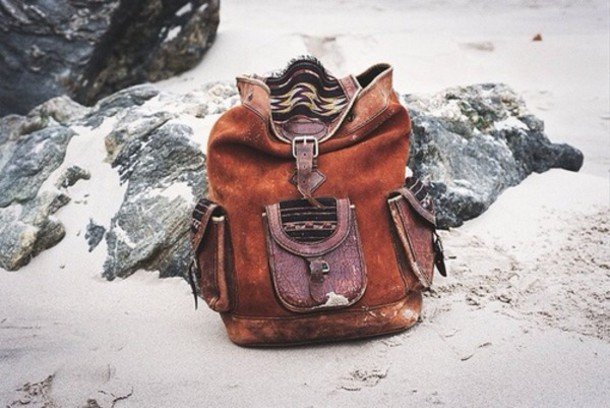 bag aztec brown leather vintage