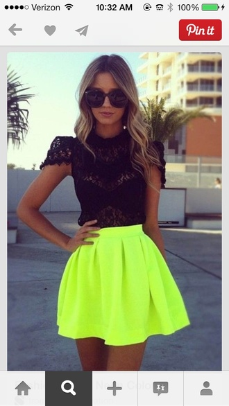 skirt neon yellow eye catching shirt bright yellow neon lovely dress lace dress neon dress yellow dress see through short sleves short dress