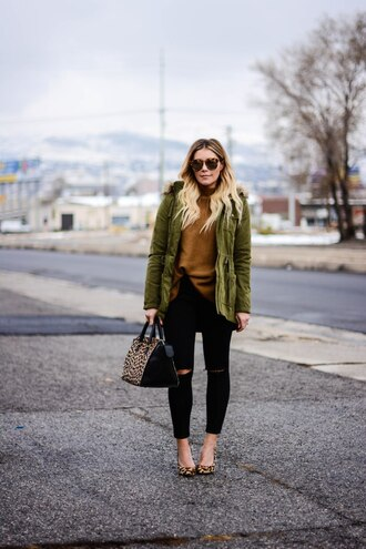 all dolled up blogger jacket sweater sunglasses bag shoes green coat handbag black jeans high heel pumps fall outfits