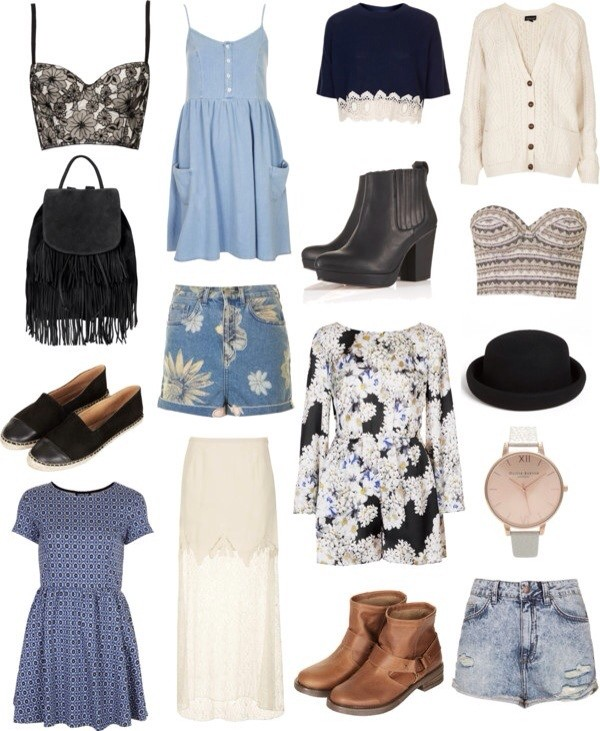 shorts bag dress hat shoes t-shirt skirt blouse jeans shirt jewels underwear tank top