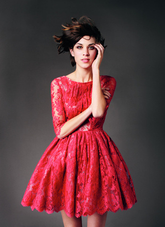dress red erdem spring spring summer 2011 red dress lace lace dress runway alexa chung romantic dress romantic