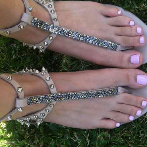 af5ab2f3ebd Glitzy Girl Jeweled Thong Sandals - Silver from zSandals at Lucky 21 ...