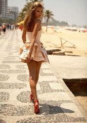 dress,nude,sleeveless,mini dress,sleeveless dress,shoes,rose,sexy dress,beach dress,long hair