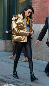jacket,gold puffer jacket,grey sweater,yellow scarf,leather pants,heel boots,blogger,round sunglasses