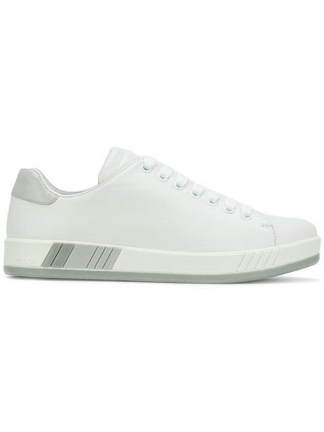 Prada women sneakers low top sneakers leather white shoes