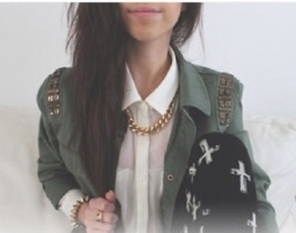 jacket green girly fashion style edgy chic military style outfit outerwear